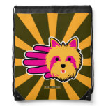 Hand shaped Pink Yorkshire Terrier Drawstring Backpack