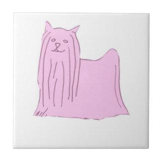 Pink Yorkshire Terrier Tile