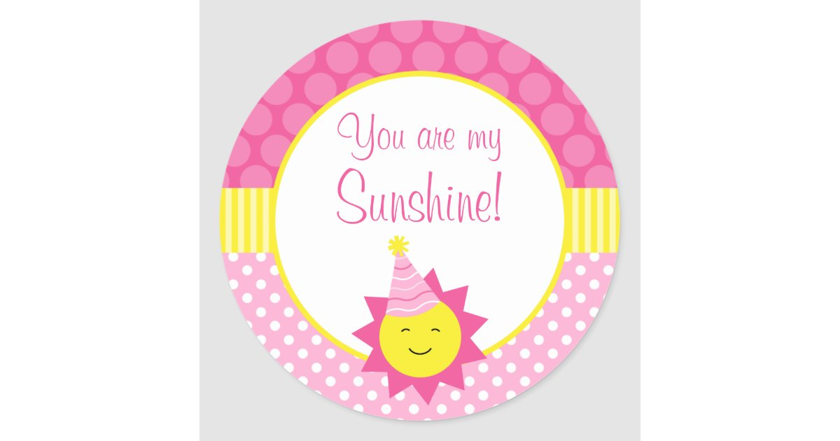 Pink you are my sunshine polka dot 1st birthday classic round sticker zazzle com