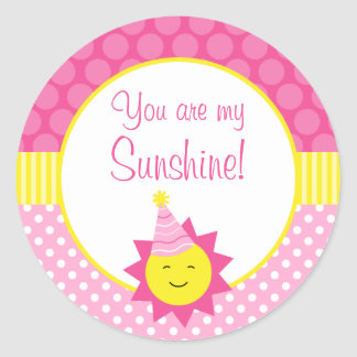 Pink You Are My Sunshine Polka Dot 1st Birthday Classic Round Sticker
