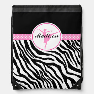 Pink Your Name Zebra Print Ballet Dancer Drawstring Bag