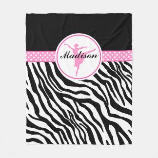 Pink Your Name Zebra Print Ballet Dancer Fleece Blanket