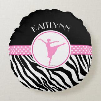 Pink Your Name Zebra Print Ballet Dancer Round Pillow