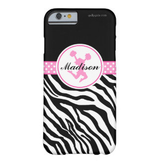 Pink Your Name Zebra Print Cheerleader / Pom Barely There iPhone 6 Case