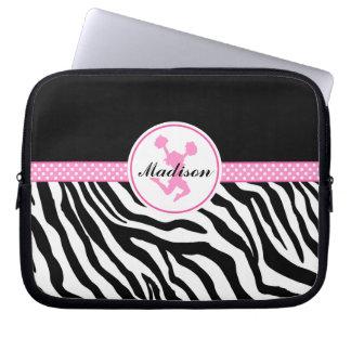 Pink Your Name Zebra Print Cheerleader / Pom Computer Sleeves