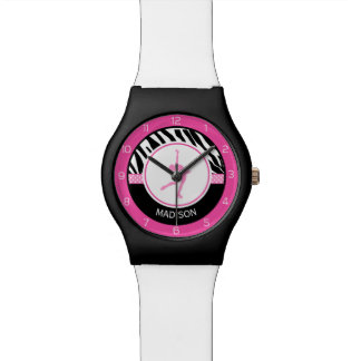 Pink Your Name Zebra Print Figure Skating Watches