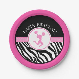 Pink Your Text Zebra Print Cheerleader / Pom Paper Plate
