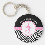 Pink Your Text Zebra Print Figure Skating Basic Round Button Keychain