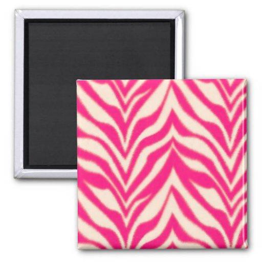 Pink Zebra 2 Inch Square Magnet