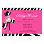 Pink Zebra African American Baby Shower Invite