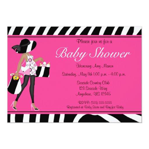 Pink Zebra African American Baby Shower Invite