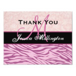 Pink Zebra  and Damask Thank You Card Custom Announcement