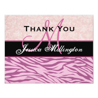 """Pink Zebra  and Damask Thank You Card 4.25"""" X 5.5"""" Invitation Card"""