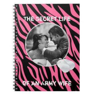 Pink Zebra and Dog Tags Frame Notebook