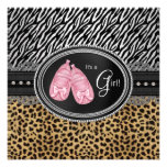 Pink Zebra and Leopard Baby Shower Personalized Announcements