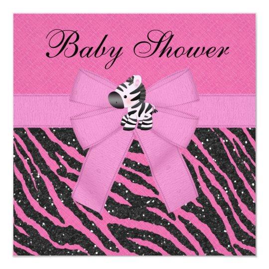 Pink Zebra & Animal Print Faux Glitter Baby Shower Card