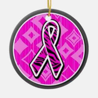 pink zebra awareness ribbon ceramic ornament