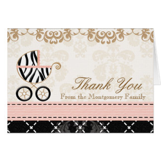 Pink Zebra Baby Carriage Shower Thank You Notes