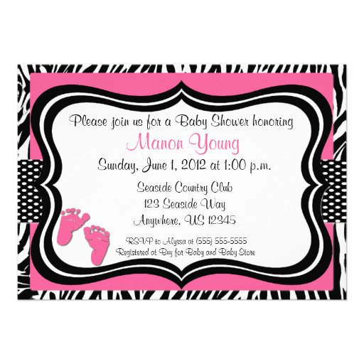 Pink Zebra Baby Feet Print Baby Shower Invitation (front side)