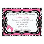 Pink Zebra Baby Feet Print Baby Shower Invitation