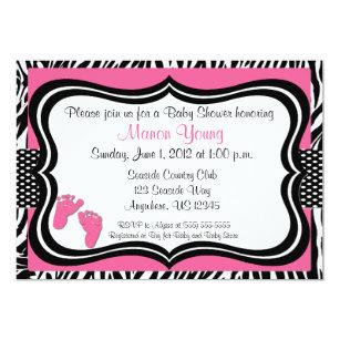 Zebra Print Baby Shower Invitations Announcements Zazzle