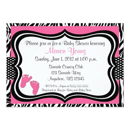 Pink Zebra Baby Feet Print Baby Shower Invitation