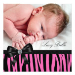 Pink Zebra Baby Girl Photo Birth Invitations