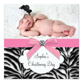 Pink Zebra Baby Girl Photo Christening 5.25x5.25 Square Paper Invitation Card