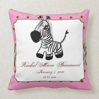 Pink Zebra Baby Keepsake Pillow