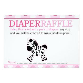 Pink Zebra Baby Shower Diaper Raffle Card