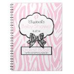 Pink Zebra- Baby Shower Guest Book- Spiral Note Book