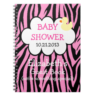 Pink Zebra Baby Shower Guestbook Notebook