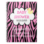 Pink Zebra Baby Shower Guestbook Notebooks