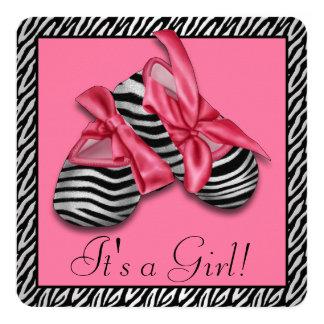 "Pink Zebra Baby Shower 5.25"" Square Invitation Card"