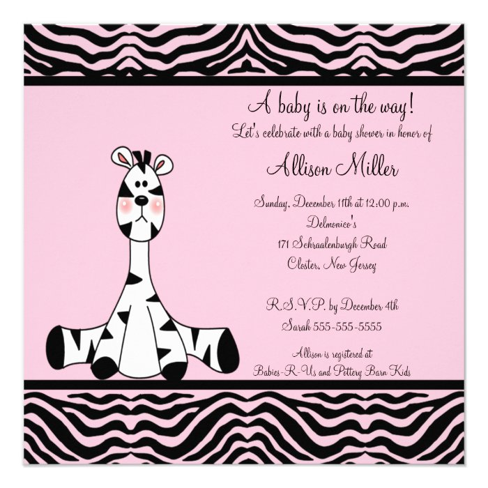 Pink zebra baby shower invitation for Pink and zebra bathroom ideas