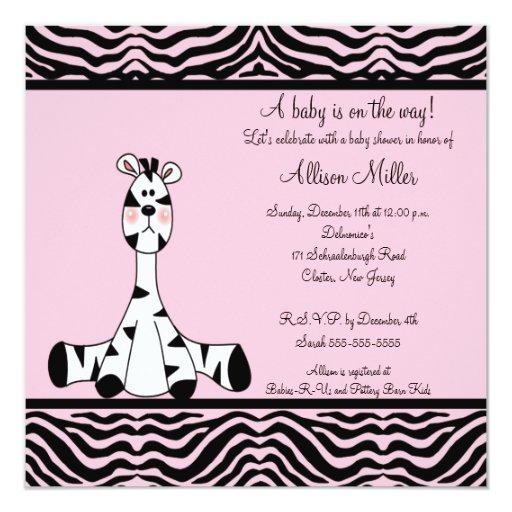 Baby Shower Decorations Zebra And Pink ~ Pink zebra baby shower invitation zazzle