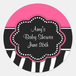 Pink Zebra Baby Shower or Birthday Stickers