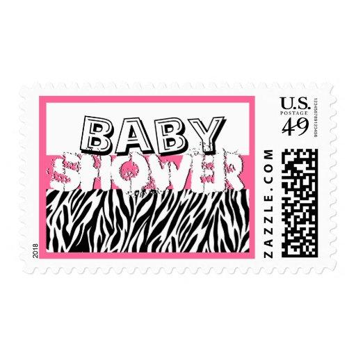 Pink Zebra Baby Shower Stamps