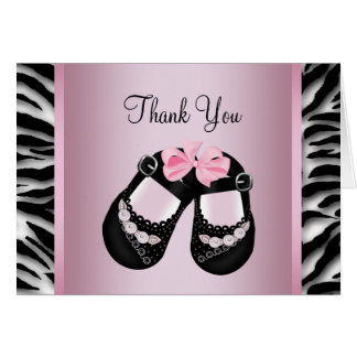 Pink Zebra Baby Shower Thank You Card