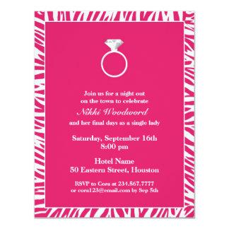 Pink Zebra Bachelorette Party Flat Invitation