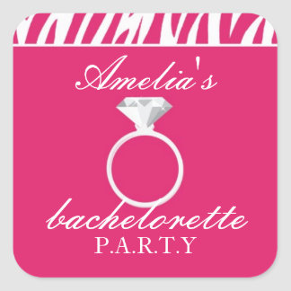 Pink Zebra Bachelorette Party Sticker
