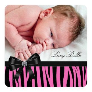 Pink Zebra Birth Announcements
