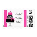 Pink Zebra Birthday Cake Pink Zebra Postage Stamps