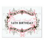 Pink Zebra Birthday Invites