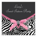 Pink Zebra Birthday Party Custom Announcements