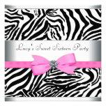 Pink Zebra Birthday Party Custom Invite