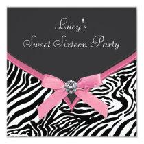 Pink Zebra Birthday Party 5.25x5.25 Square Paper Invitation Card
