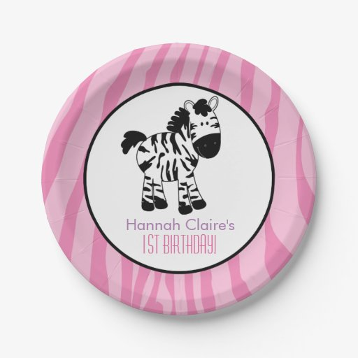 Pink Zebra Birthday Party Paper Plate