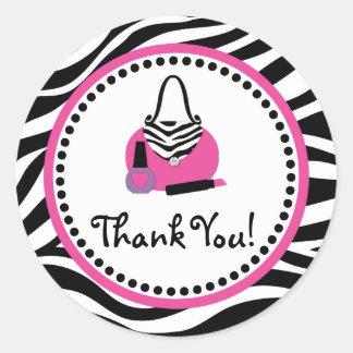 Pink Zebra Birthday Spa Diva Party Favor Classic Round Sticker