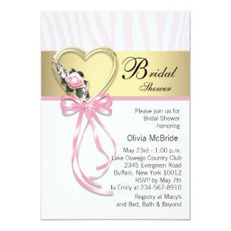 Pink Zebra Black Gold Zebra Bridal Shower Card